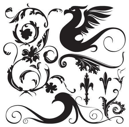Vintage Blumenornamente mit dekorativen geflügelten Drachen. Vector illustration. Vektorgrafik