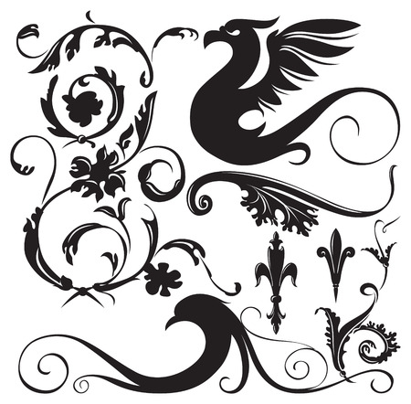 vector ornaments: Vintage floral ornaments with decorative winged dragon. Vector Illustration.
