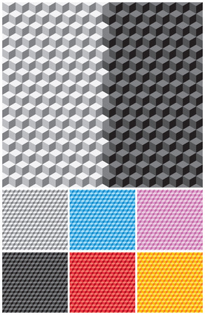 Backgrounds with pseudo-3d cubes. Seamless vector pattern. Vector