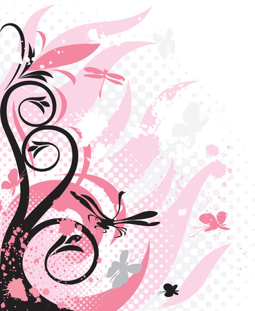Decorations with pink florals. Vector illustration. Vector