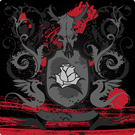 roses and blood: Shield with goat skull. Vector illustration.