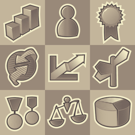 Set of monochrome business retro icons. Hatched in style of engraving. Vector illustration. Vector