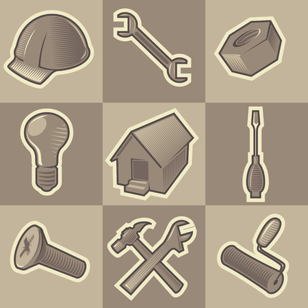 hatched: Set of monochrome construct retro icons. Hatched in style of engraving. Vector illustration.