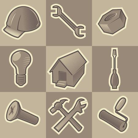 orzechów: Zestaw ikon monochromatycznych konstruować retro. Wylęgane w stylu grawerowanie. Vector illustration.