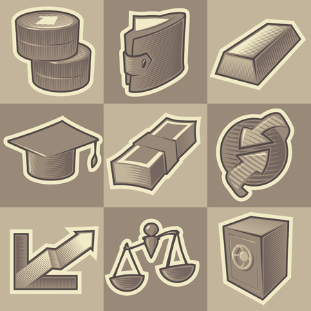 Set of monochrome finance retro icons. Hatched in style of engraving. Vector illustration. Vector