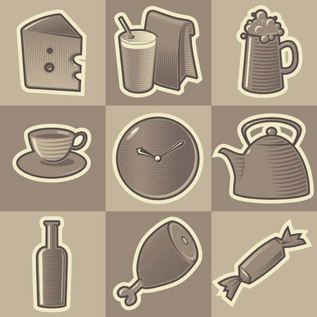 hatched: Set of monochrome food retro icons. Hatched in style of engraving. Vector illustration.