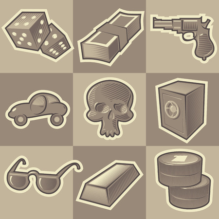 burglary: Set of monochrome gangsta retro icons. Hatched in style of engraving. Vector illustration.