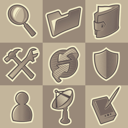Set of monochrome internet retro icons. Hatched in style of engraving. Vector illustration. Vector
