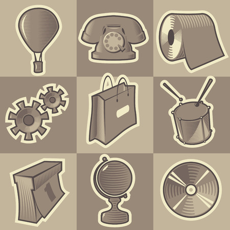 Set of monochrome miscellaneous retro icons. Hatched in style of engraving. Vector illustration.