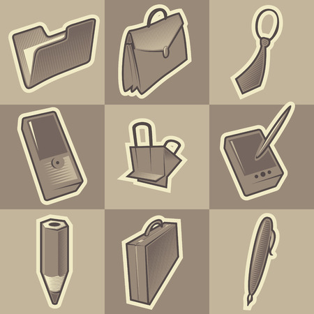Set of monochrome office retro icons. Hatched in style of engraving. Vector illustration. Vector