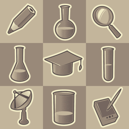 Set of monochrome science retro icons. Hatched in style of engraving. Vector illustration. Vector