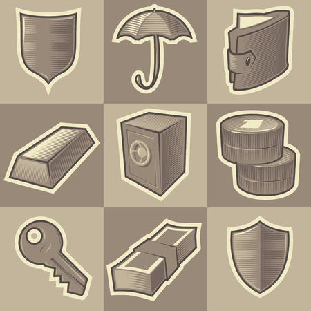 Set of monochrome security retro icons. Hatched in style of engraving. Vector illustration. Vector