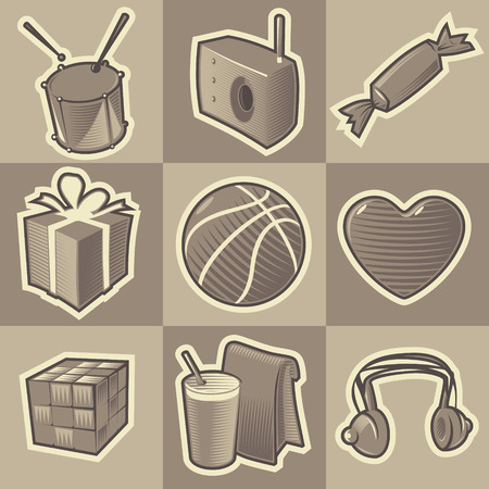 hatched: Set of monochrome teen retro icons. Hatched in style of engraving. Vector illustration. Illustration