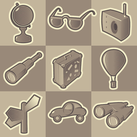 Set of monochrome travel retro icons. Hatched in style of engraving. Vector illustration. Vector