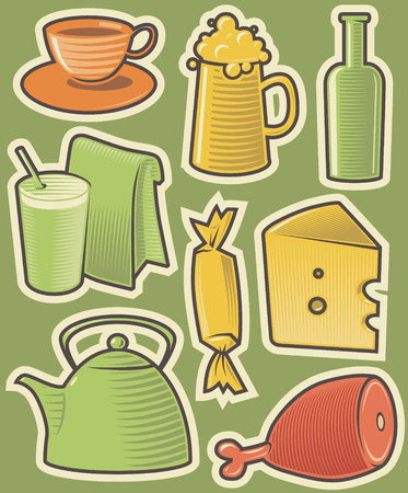 Set of food icons. Hatched in style of engraving. Vector illustration. Stock Vector - 4499214