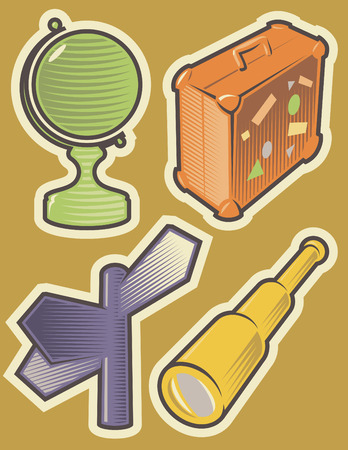 Set of travel icons. Hatched in style of engraving. Vector illustration. Vector