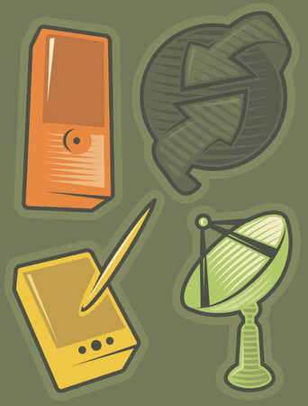 hatched: Set of communications icons. Hatched in style of engraving. Vector illustration.