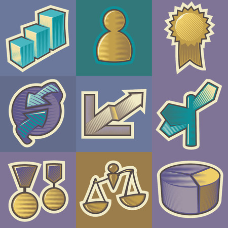 Set of multicolored business retro icons. Hatched in style of engraving. Vector illustration. Vector