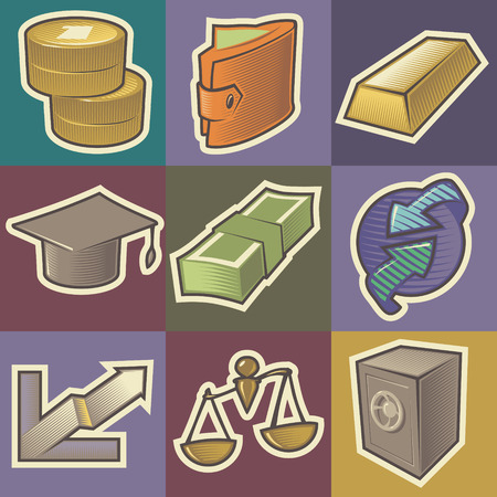 Set of multicolored finance retro icons. Hatched in style of engraving. Vector illustration. Vector