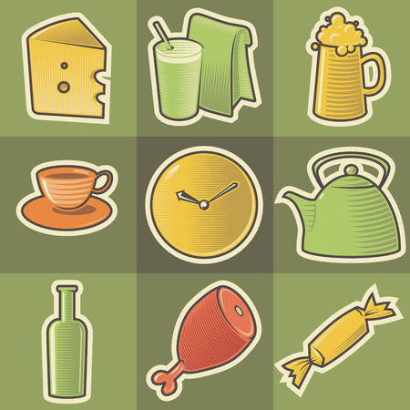 hatched: Set of multicolored food retro icons. Hatched in style of engraving. Vector illustration.