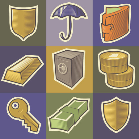 Set of multicolored security retro icons. Hatched in style of engraving. Vector illustration. Vector
