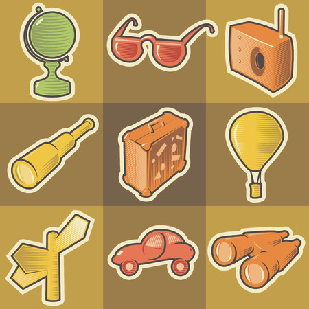 Set of multicolored travel retro icons. Hatched in style of engraving. Vector illustration. Vector