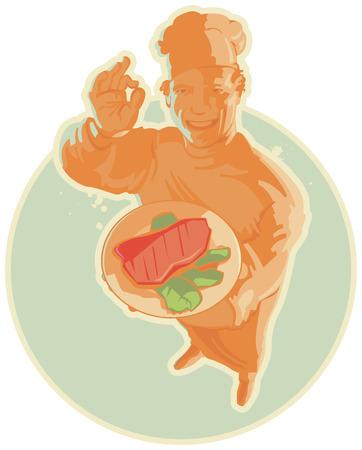 steak plate: Sonriendo cocinar la carne con la iluminaci�n en color naranja. Ilustraci�n vectorial.
