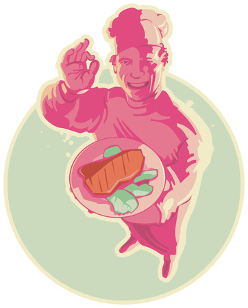 Smiling cook with steak in pink lighting. Vector illustration.  Vector