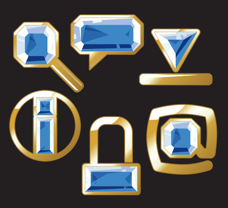 Sapphire internet and website icons. Vector illustration. Vector