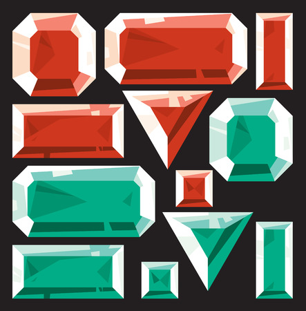 Gems of ruby and emerald. Vector illustration. Vector