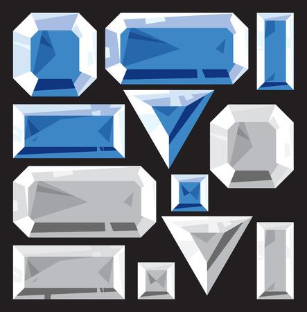 Gems of sapphire and diamond. Vector illustration. Vector