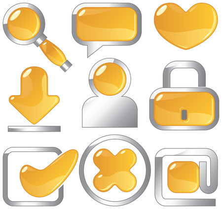 Metallic and amber icons for websites and internet. Vector illustration. Vector