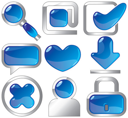 sapphire: Metallic and sapphire icons for websites and internet. Vector illustration. Illustration