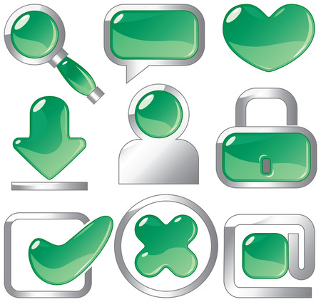 Metallic and emerald icons for websites and internet. Vector illustration. Stock Vector - 4580743
