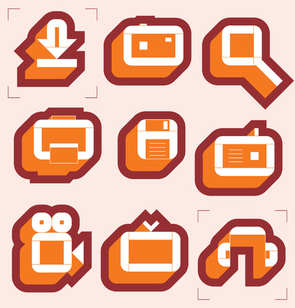 Grid icons for media resources. Vector illustration. Stock Vector - 4874544