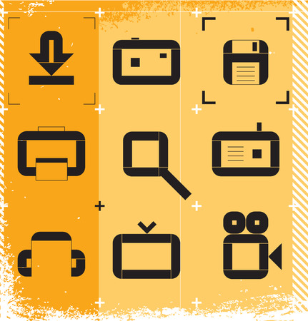 Urban icons for media resources. Vector illustration. Vector