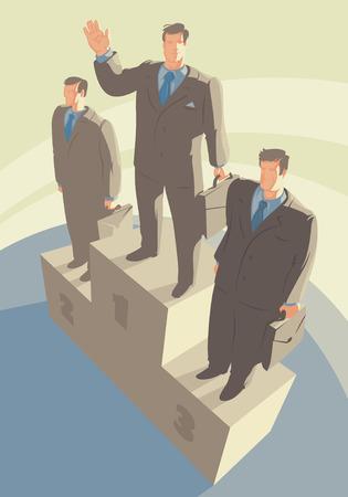pedestal: Winners standing on pedestal. Vector illustration.