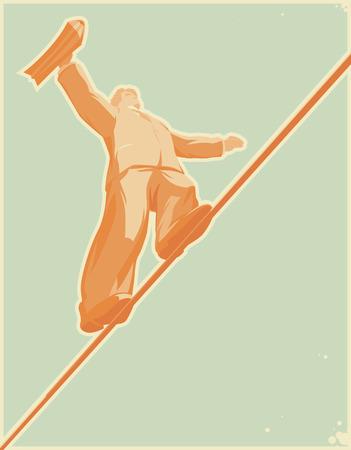 Rope-walker: risky business. Vector illustration. Vector