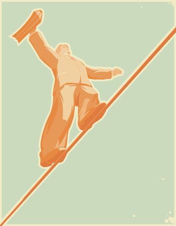 wire rope: Rope-walker: risky business. Vector illustration.