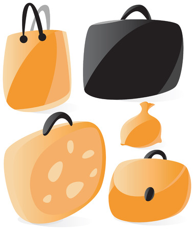 Set of smooth and glossy bags icons. Vector illustration.  Vector
