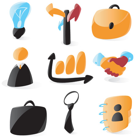 Set of smooth and glossy business icons. Vector illustration.  Vector