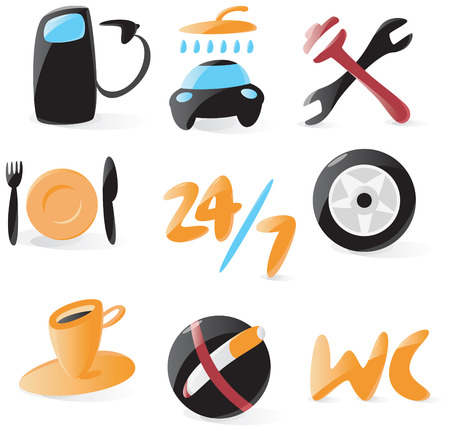 Set of smooth and glossy icons for vehicle service. Vector illustration. Figures and letters are not part of any existing font, all the characters were drawn by hand. Illustration