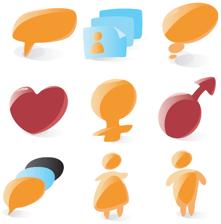 Set of smooth and glossy icons for chat and conference. Vector illustration.  Vector