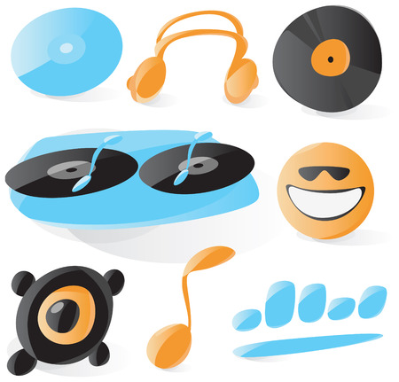 discjockey: Set of smooth and glossy dj icons. Vector illustration.
