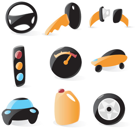 Set of smooth and glossy drive icons. Vector illustration.  Illustration