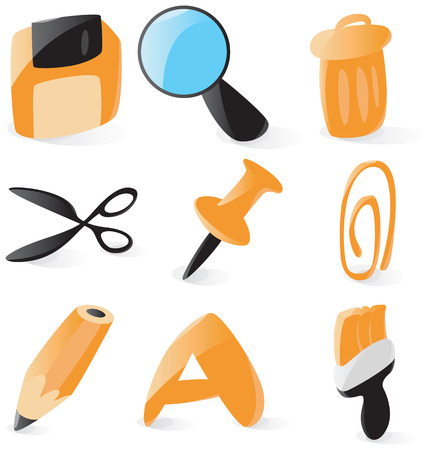 drawingpin: Set of smooth and glossy file operations icons. Vector illustration. Letter A is not part of any existing font, it was drawn by hand.