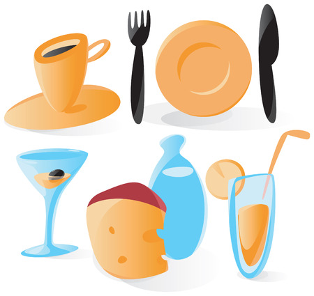 Set of smooth and glossy icons with food and drinks. Vector illustration. Stock Vector - 4915853
