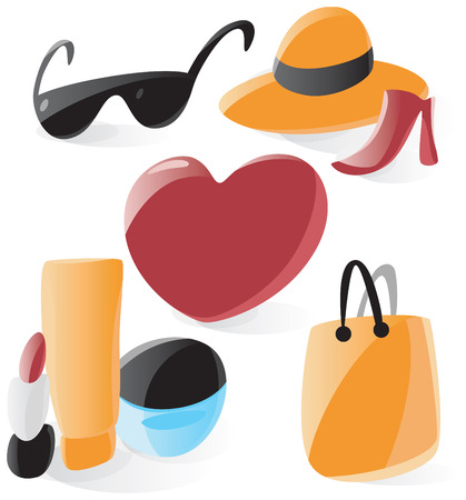 Set of smooth and glossy ladies icons. Vector illustration.  Vector