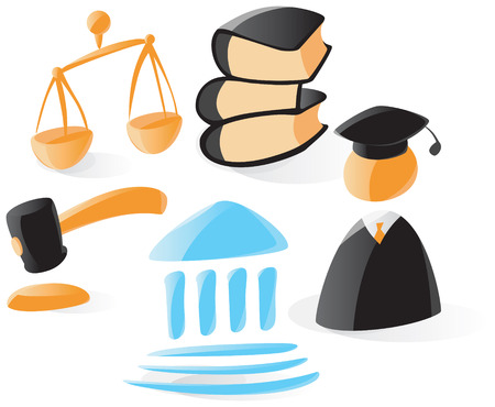 jurisprudence: Set of smooth and glossy law icons. Vector illustration.