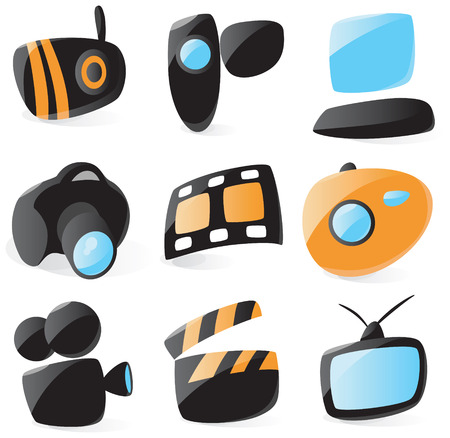 Smooth media device icons Vector